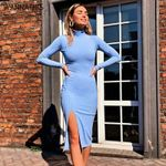 Cotton Ribbed Knitted Turtleneck Sexy Knee-Length Party Dresses