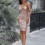 V Neck Elegant Sexy Slim Party Dress