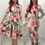 Fashion  Floral O Neck Long Sleeve High Waist Zipper Party Dress