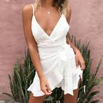 Fashion  Lace Up V-neck Backless Beach Party Dress