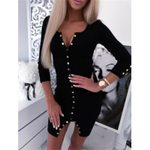 V-neck Sexy Long Sleeve Slim Buttoned Party Dress