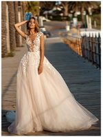Lace Puff Tulle Gowns Backless Wedding Dress