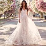 Long Sleeves Elegant Bridal Open Back A Line Lace Wedding Dresses