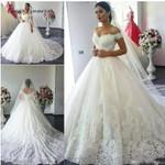 Cap Sleeve Vintage Leaves Arab Wedding Dress