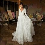 Deep V Neck Long Sleeves Stain Lace Tulle Wedding Dresses
