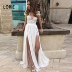 A Line Lace Double Split Chiffon Wedding Dresses