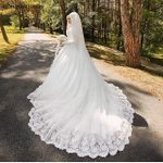 Robe Luxury Beautiful Long Trail Long Sleeve Wedding Dress