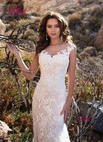 Short Sleeves Lace Sheer Neck Mermaid Wedding Dresses