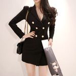 Casual Vintage Office Long Sleeve Double Button Blazer Dress