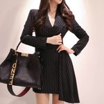 Double Button Casual Long Sleeve Print Striped Blazer Dress