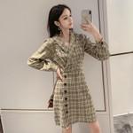 Classic Print Plaid Long Sleeve Singer Button Blazer Dress