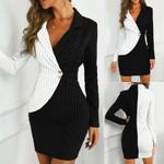 Turn Down Neck Long Sleeve Buttons Striped Blazer Dress