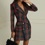 Sexy V Neck Double Breasted Elegant Office Plaid Blazer Dress