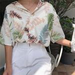 Fashion Floral Short Sleeve Chiffon Casual Blouses