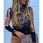 Floral Long Sleeve Round Neck Sheer Mesh Insert Blouse