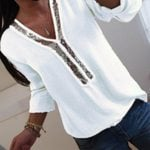 Casual  V-Neck Casual Loose Tops Blouse