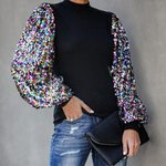 Turtleneck Casual  Long Puff Sleeve Sequins Blouses