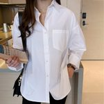 Buttons Turn-down Collar Long Sleeve Casual Loose Cotton Blouse
