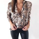 Long Sleeve Turn Down Collar Sexy Snake Skin Printed  Blouse