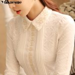 long sleeve thick warm  lace blouse