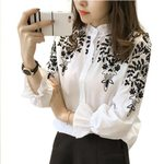 Casual Cotton Long Sleeve Embroidery Blouse