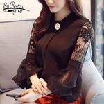 stand neck fashion chiffon lantern long sleeve blouse