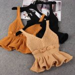 V-neck Sleeveless Backless Tunic Knitted Ribbed Ruffled Tank Tops