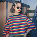 O-neck Loose Short Sleeve  Rainbow Striped T-Shirts