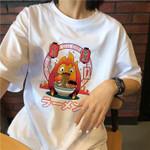 cartoon cute Fun punk print o-neck T-shirt