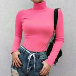 Long Sleeve Turtleneck Fashion Slim  Neon Ribbed T Shirt