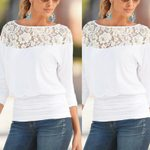 Casual Hollow Out Long Sleeve Lace Loose T-Shirt