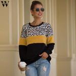 O-Neck Fashion  Leopard stitching Sweatshirts