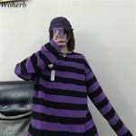 Loose Long Sleeve Vintage Striped Sweatshirt