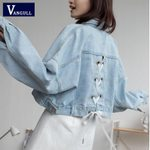 Short Single Breasted Lace Up Ripped Denim Jacket