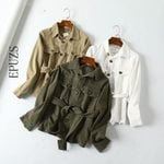casual sashes pocket bomber vintage khaki cargo denim jacket