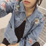Casual Flower Classic Loose Vintage Turn Down Collar Denim Jacket