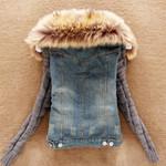 Warm Faux Fur Collar Fashion Denim Jacket