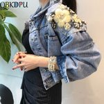 Long Sleeve Loose Butterfly Pearl Bead Short Denim Jacket
