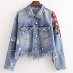 Long Sleeved Fashion Embroidered Tassels Denim Jackets