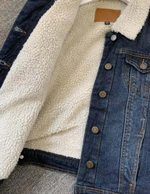 Cotton Warm  Thick Lambs Wool Basic Denim Jacket