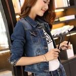 Short Long Sleeve Turn Down Collar Vintage Denim Jacket