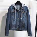 Hooded Pockets basic Long Sleeves Slim Denim Jacket