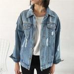 Punk Ripped Vintage Fashion loose Frayed Denim Jacket