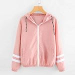 Long Sleeve Patchwork Thin Hooded Zipper Sport Jacket