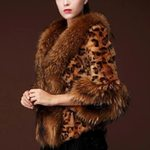 Sexy Leopard Print Short Faux Fur Warm patchwork Jacket