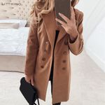 Wool Blend Fashion Basic Essential Double-Breasted Coat