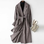 Elegant Turn Down Collar Long  Woolen Coat
