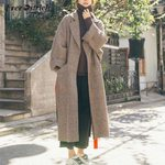 Long Sleeve Wool  Pocket Wool Blend Coat