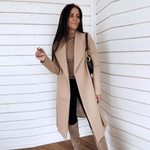 Long Cardigan Sleeve Thin Wool Blend Coat