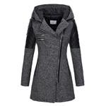 Hooded Zipper Slim Fashion Patchwork Warm Windproof Coats